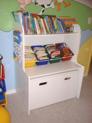 Kid bin shelf and kid desk in one