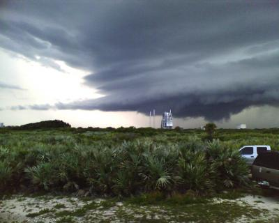 Thunderstorm over launch pad